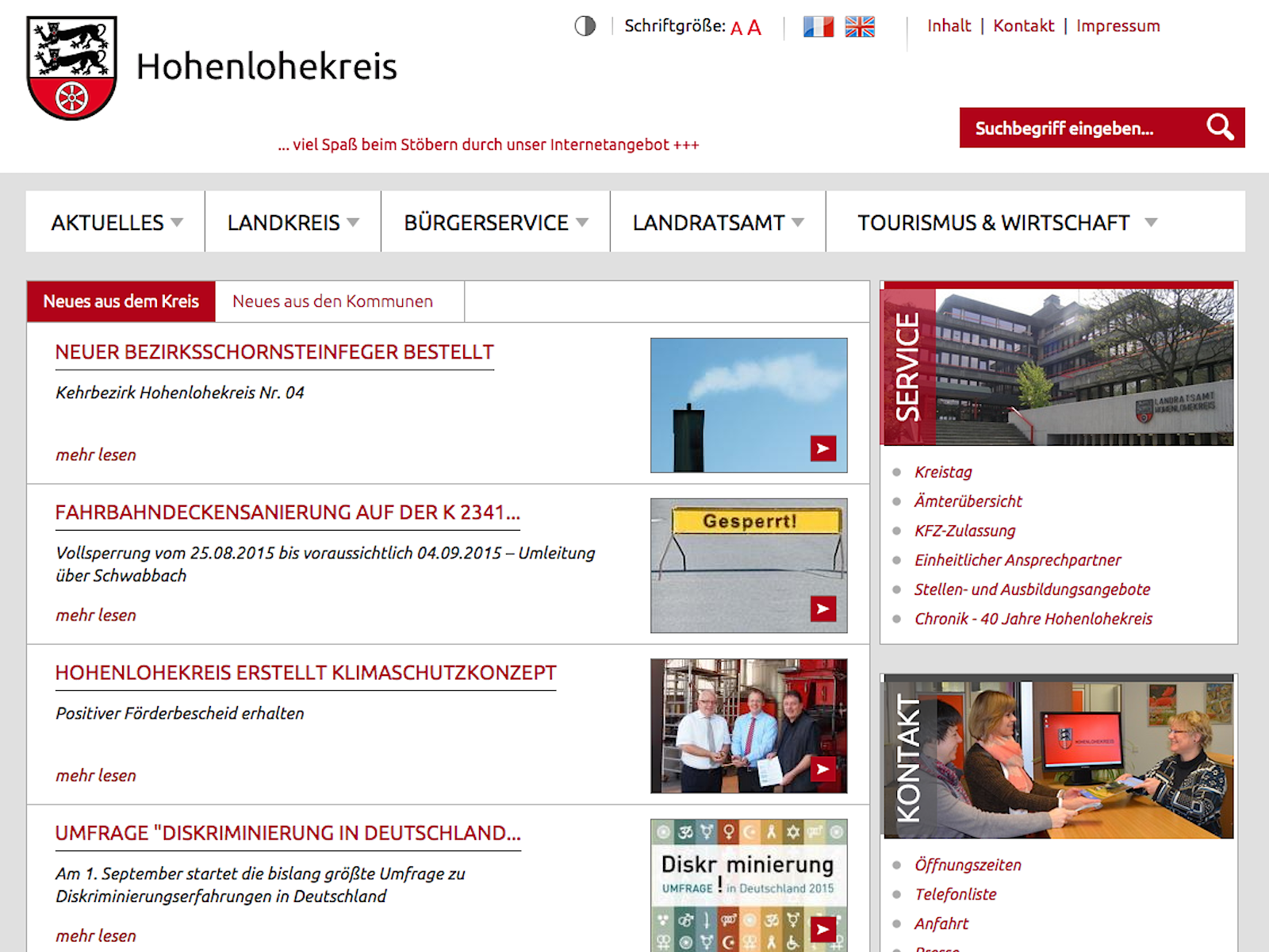 Screenshot Landkreis News